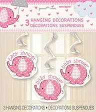 "Umbrellaphants Pink Hanging Swirl Decoration 26""H, 3ct"