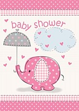 Umbrellaphants Pink Invitations 8ct