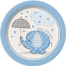 "Umbrellaphants Blue 7"" Dessert Plates 8ct"