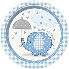 "Umbrellaphants Blue 9"" Lunch Plates 8ct"