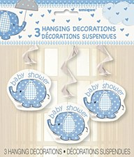"Umbrellaphants Blue Hanging Swirl Decoration 26""H, 3ct"