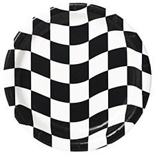"Black & White Check 7"" Dessert Plates, 8ct"