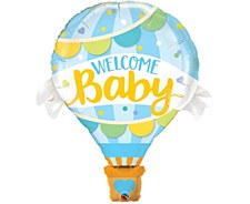 """42""""Welcome Baby Blue Hot Aie Ballloon"""