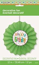 "Citrus Dot Birthday Paper Decor Fan 12"""