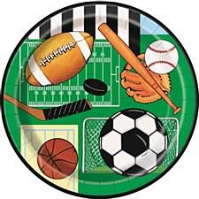 "Classic Sports 7"" Dessert Plates 8ct"