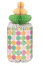 "Pastel Baby Shower Honeycomb Bottle Centerpiece 12""H"
