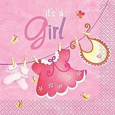 Pink Clothesline Baby Shower Beverage Napkins 16ct