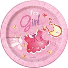 "Pink Clothesline Baby Shower 7"" Dessert Plates 8ct"