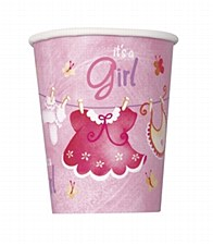 Pink Clothesline Baby Shower 9 oz. Cups 8ct