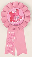Pink Clothesline Baby Shower Award Ribbon