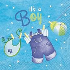 Blue Clothesline Baby Shower Beverage Napkins 16ct