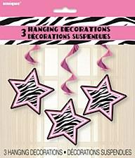 "Zebra Passion Hanging Swirl Decorations 26"""