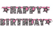 Zebra Passion Jointed Birthday Banner