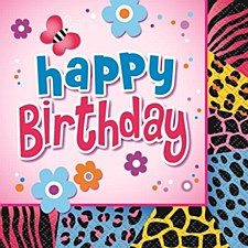 Wild Birthday Beverage Napkins 16ct