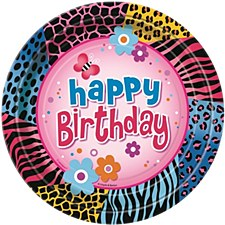 "Wild Birthday 7"" Dessert Plates 8ct"