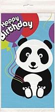 "Birthday Panda Plastic Table Cover 54"" x 84"""