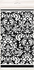 """Black Damask Plastic Table Cover 54"""" x 84"""""""