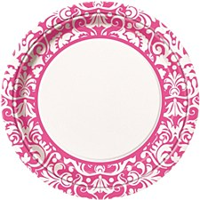 """Pink Damask 9"""" Lunch Plates 8ct"""