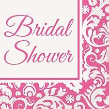 "Pink Damask Luncheon Napkins ""Bridal Shower"" 16ct"