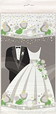 """Silver Wedding Plastic Table Cover 54"""" x 84"""""""