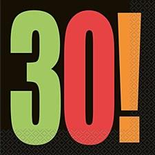 Birthday Cheer 30th Birthday Luncheon Napkins (16ct)