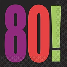 Birthday Cheer 80th Birthday Luncheon Napkins (16ct)