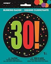 Birthday Cheer 30th Birthday Large Blinking Badge