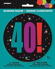Birthday Cheer 40th Birthday Large Blinking Badge