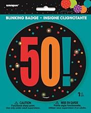 Birthday Cheer 50th Birthday Large Blinking Badge