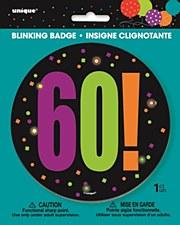 Birthday Cheer 60th Birthday Large Blinking Badge