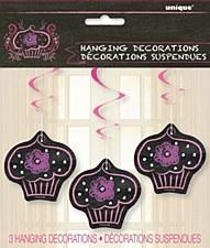 "Birthday Sweets Hanging Swirl Decorations 26"""
