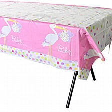 "Baby Girl Stork Plastic Table Cover 54"" x 84"""