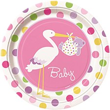 "Baby Girl Stork 9"" Lunch Plates 8ct"