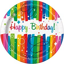 "Rainbow Ribbon Birthday 9""Plates"