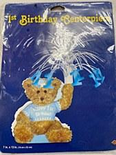 1st Birthday Blue Teddy Bear Centerpiece
