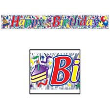 Metallic Happy Birthday Fringe Banner