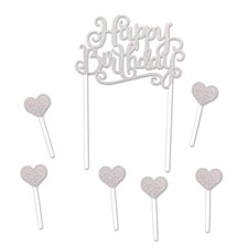 "Silver ""Happy Birthday"" Cake Banner"