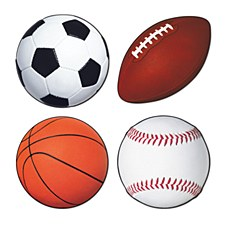 Sports Cutouts, 4ct