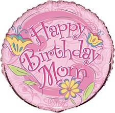 "18"" Floral Birthday Mom Foil Balloon"