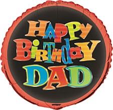"""18"""" Bold Birthday Dad Foil Balloon"""