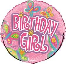 """18"""" Birthday Girl Butterflies Foil Balloon"""