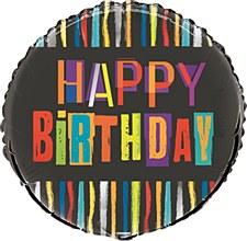 """18"""" Birthday Stripes Foil Balloon"""