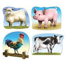 Farm Animal Cutouts, 4ct