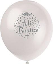 """12"""" Feliz Baptize Balloons, 8ct"""
