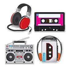 Cassette Player Cutouts, 4ct