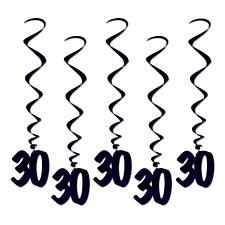 30  Whirls Hanging Decorations- Black