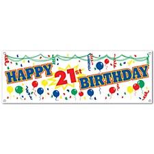 Happy  21st  Birthday Sign Banner