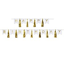 Gold Happy Birthday Tassel Streamer