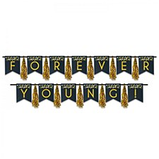 "Black and Gold ""FOREVER YOUNG"" Tassel Streamer"