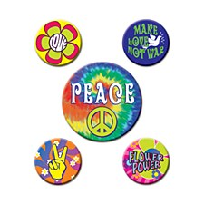 60's Party Buttons, 5ct